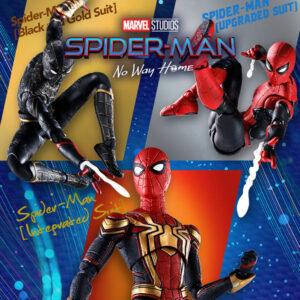 【スパイダーマン】S.H.フィギュアーツ『ブラック&ゴールドスーツ』『インテグレーテッドスーツ』『アップグレードスーツ』ノー・ウェイ・ホーム 可動フィギュア【バンダイ】より2022年1月発売予定♪